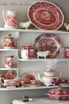 Aiken House & Gardens: Red & White Transferware Display by oldrose Antique Dishes, Vintage Dishes, Antique China, Vintage China, Country Decor, Farmhouse Decor, Red And Pink, Red And White, Dish Display