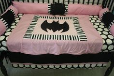 3  piece pink dot stripe Batman Crib bedding on Etsy, $199.00