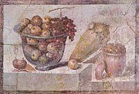 Tazón de fruta transparente y jarros. (Frescos romanos de Pompeya)