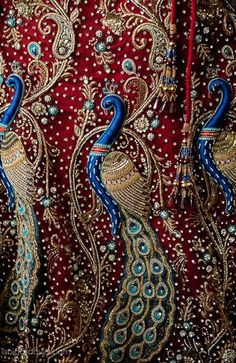 Embroidered & Beaded Peacock Fabric in Shades of Deep Blue & Red . Indian Embroidery, Ribbon Embroidery, Embroidery Stitches, Embroidery Patterns, Folk Embroidery, Peacock Embroidery Designs, Embroidery Online, Paisley, Peacock Art