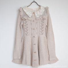 LIZ LISA Autumn Winter Ribbon Knit OP Dress Frill Lace gyaru Lolita Sz F Japan…