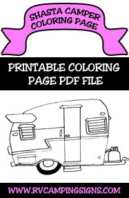 Camping Coloring Pages For Kids | RV Camping Signs