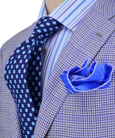 Kiton | Blue and Grey Check Sportcoat | Apparel | Men's