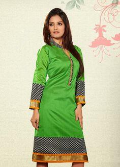 USD 34.41 Green Silk Printed Knee Length Kurti  31944