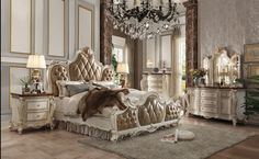 Acme Picardy Upholstered Bedroom Set in Antique Pearl - Picardy Collection - Acme Furniture - Brands Sleigh Bedroom Set, King Bedroom Sets, Queen Bedroom, Queen Bedding Sets, Master Bedroom, Bedroom Mirrors, Mansion Bedroom, Upholstered Bedroom Set, White Bedroom Furniture