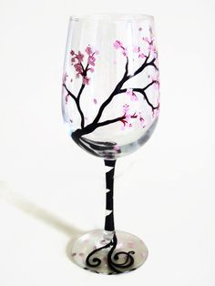 Cherry Blossoms Hand Painted on a Wine Glass in Pink by LKCustomCreations