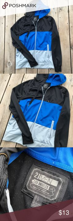"""21 Men Zip-Up Hoodie Black/Blue Sweatshirt-Large Size large, sweatshirt is 28"""" long, sleeves are 21"""", armpit-to-armpit is 20"""". In excellent used condition. Forever 21 Jackets & Coats Lightweight & Shirt Jackets"""