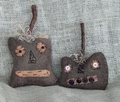 Primitive Folk Art Black Stitched Face Pumpkins by BeckysPrims. , via Etsy.