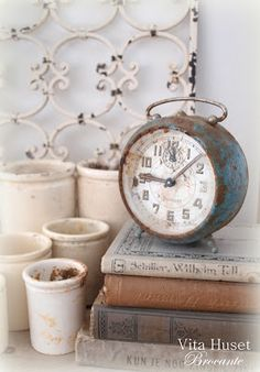 Vintage Clock and Books