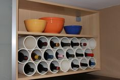 PVC pipes as a wine rack