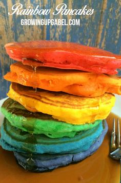 Need a fun St. Patrick's Day breakfast idea for kids? Make rainbow pancakes! This quick and easy recipe will delight the entire family!