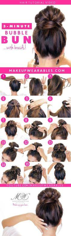 Hair Tutorials : Easy Bubble Bun with Braids! Cute Updo Hairstyles Hair Tutorials : Easy Bubble Bun with Braids! Easy Lazy Hairstyles, Cute Hairstyles Updos, Braided Bun Hairstyles, Cool Haircuts, Homecoming Hairstyles, Updo Hairstyle, Hairdos, Wedding Hairstyles, Hairstyle Ideas