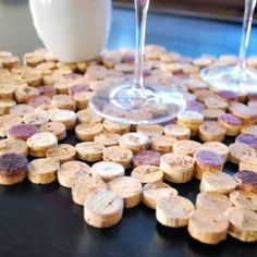 Make a placemat or trivet using corks and a glue gun. Great idea for serving wine! (easy tutorial)