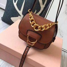 6353263ab07c Miu Miu 5BD019 Small Calf Leather Dahlia Shoulder Bag Brown 2016 Smaller  Calves