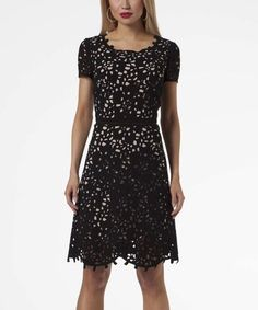 Look what I found on #zulily! Black Perforated A-Line Dress #zulilyfinds