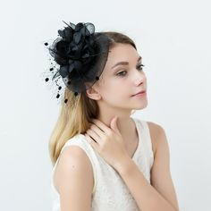 Feather Black Fascinator Hat Occasion Wedding Hats Wedding Guest Fascinators, Wedding Hats, Black Fascinator, Fascinator Hats, Victoria Costume, 1950s Fashion Dresses, Great Gatsby Party, Feather Hat, Royal Ascot
