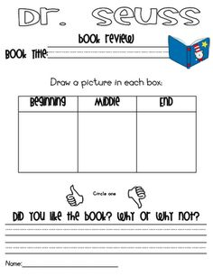 Dr. Seuss book review #printable #worksheet