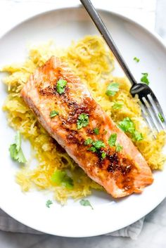 A combination of five-spice powder, brown sugar and orange zest gives a sweet but subtle flavor to this combo of salmon with a side of spaghetti squash.