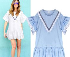 Round Collar Flounced Sleeves Pure Color Large-Size Thin One-Piece Dress