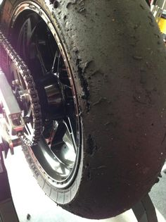Moto GP tire...that's some serious knee dragging!!!... Maximum lean angle in full affect