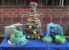 1st birthday cake & cupcake display #car/truck#theme