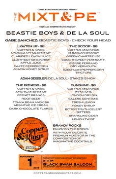 Copper & Kings MIXT&PE Menu at Black Swan Saloon, Dallas on Nov. 1, 2015. Cocktails interpreting the music of the Beastie Boys & De La Soul #brandy #brandyrocks #mixtape #copperandkings #americanbrandy #craftbrandy #blackswansaloon #blackswan #deepellum #dallas #texas #beastieboys #delasoul #checkyourhead #lightenup #thescoop #stakesishigh #thebizness #sunshine #cocktail #cocktails #brandycocktail #drink
