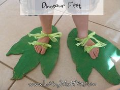 """Dinosaur Feet  :)  A fun way to introduce measurement.  'It's 3 dinosaur feet long!"""" I'd make my feet 12"""" long but not focus on the numbers with young ones. This looks like painted cardboard.  Fun!"""