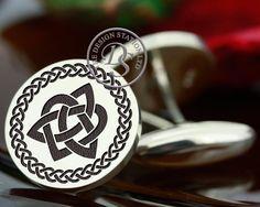 Celtic Cufflinks Trinity Heart (A) Personalised - MyPersonaJewellery