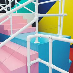 Dublin-based graphic artist Maser constructs Higher Ground, a labyrinth of colorful corridors that shift reality into hyper-reality.