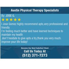 I Jose Gomez highly recommend apts,very professional and friendly I'm feeling much better...