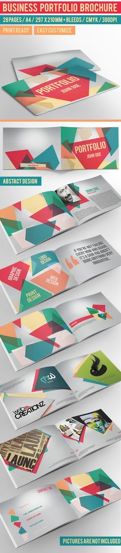 werken met transparantie cmyk en qoutes Business Portfolio Brochure - InDesign Template by crew55design, via Behance