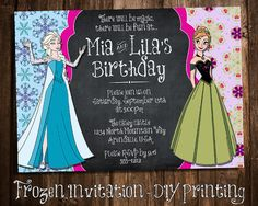 Frozen - Birthday Party Invitation Printable - Made to Print at 5x7 or 4x6 - Anna and Elsa - Double Party, Sister Birthday