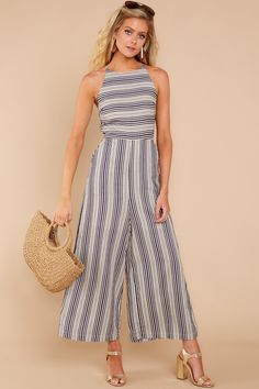 Check It Out Navy Striped Jumpsuit Jumper Outfit Jumpsuits, Jumpsuit Outfit, Romper Pants, Stylish Summer Outfits, Chic Outfits, Fashion Outfits, Fashion Essay, Simplicity Fashion, Fashion Silhouette