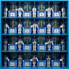 vertical pattern square blue, 2009 - display cabinet, sundry objects – 102 x 102 x 25 cm.