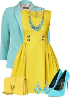 Dress casual, blue and yellow dress, yellow outfits, blue skirt outfits, ye Neue Outfits, Komplette Outfits, Classy Outfits, Spring Outfits, Yellow Outfits, Blue Skirt Outfits, Cardigan Outfits, Spring Shoes, Summer Shoes