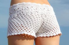 Pattern crochet white beach shorts and shorts color of summer - pattern PDF: