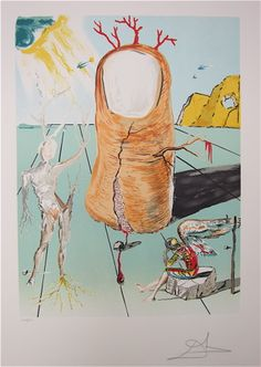 "SALVADOR DALI COLOR LITHOGRAPH (Spanish, 1904-1989) ""Vision of the Angel of Cape Creus."" Image measures 23"" x 17"", pencil signed lower right, numbered 109/350, blind stamp ""Dalart N.V."" lower left. In a custom wood frame. To be sold as lot 0914-0638."