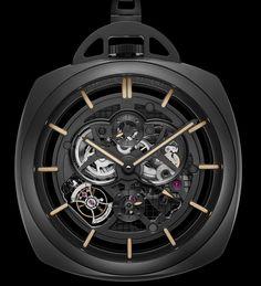 Эксклюзивные карманные часы Officine Panerai Pocket Watch Tourbillon GMT Ceramica – Высокотехнологичные традиции | LuxuriousWatches.ru
