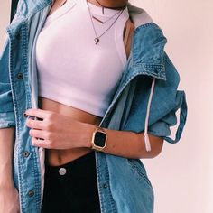 tank top crop tops white jacket denim vintage tumblr urban girl outfit