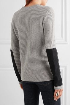 Gray cashmere, black twill Slips on 100% cashmere Dry clean  Imported