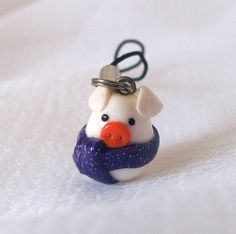 snowman pig fimo cell phone charm