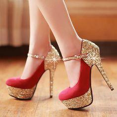 Bridal shoes new fashion elegant paillette women's high heels platform wedding shoes red bottom shoes heeled shoes women pumps 5 $119.20