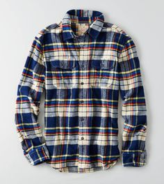 Heritage Button Down Flannel in Cobalt Blue (American Eagle)