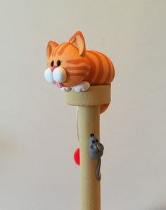 Polymer Clay Muffin Top Cat Ballpoint Pen by handmademom on Etsy