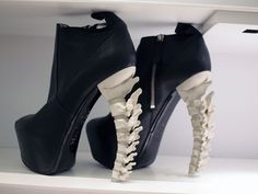 Black boots with Skeleton end. #shoes