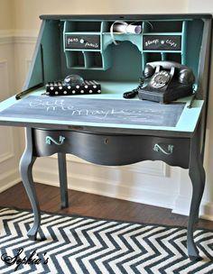 DIY Painted Black Teal Blue Vintage Phone Secretary Desk with chalkboard paint message area. Refurbished Furniture, Upcycled Furniture, Furniture Projects, Vintage Furniture, Diy Furniture, Kitchen Furniture, Ashleys Furniture, Refinished Desk, Refurbished Phones