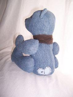 Upcycled Denim Teddy Bear  Made by BlueBarnHillCraftsIn, $32.49
