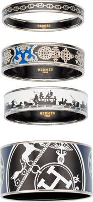 "Hermes Set of Four; Black & Blue Enamel Printed Bracelets with Palladium Hardware Very Good Condition 0.5""..."