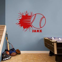 Add Creative Home Décor Ideas with this Custom Baseball Breaking Wall Wall Decals Wall Decor Stickers to any Place you want to Décor Baby Wall Stickers, Removable Wall Stickers, Wall Decor Stickers, Unique Wall Decor, Home Decor Wall Art, Personalized Wall Decals, Wall Plaques, Wall Murals, Décor Ideas