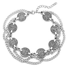 Sexy Bohemia Woman Lady Ankle Multilayer Wave Chain Coins Anklet Bracelet Foot